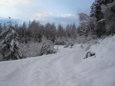 the 'main climb' under several inches of snow